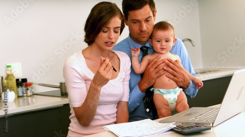 New parents trying to figure out their expenses