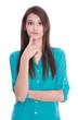 Enttäuschte junge Frau isoliert auf Hintergrund weiß