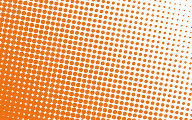 summer orange halftone polka dot in white background