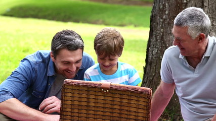 Three generations of men having a picnic