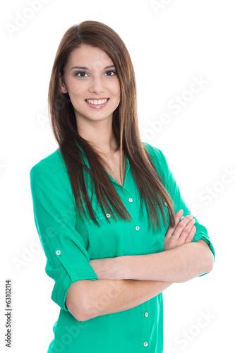 Lachende junge Frau in grüner Bluse