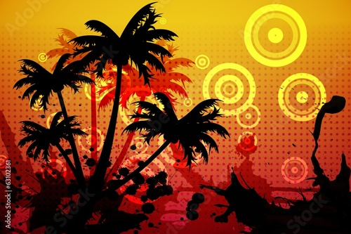 Digitally generated palm tree background