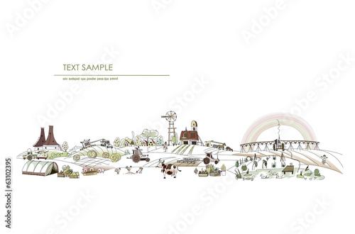 Leinwandbild Motiv Farm illustration, agricultural concept
