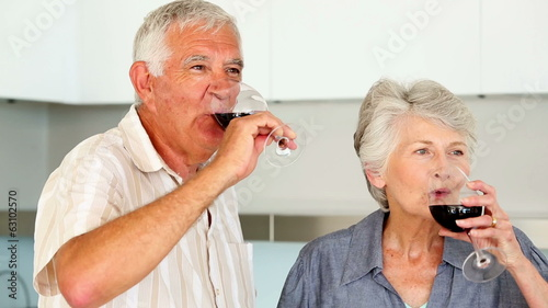 Senior couple preparing a healthy salad while drinking red wine