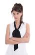 Junge schöne Frau isoliert auf schwarz weiß in Bluse