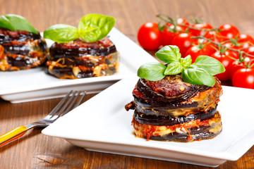 Parmigiana di melanzane: baked eggplant - italy, sicily cousine-