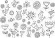 Springtime Bird Flower Vector Doodle Set