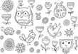 Forest creatures spring Flower Vector Doodle Set