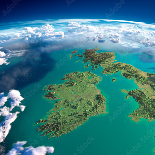Leinwandbild Motiv Fragments of the planet Earth. Ireland and UK