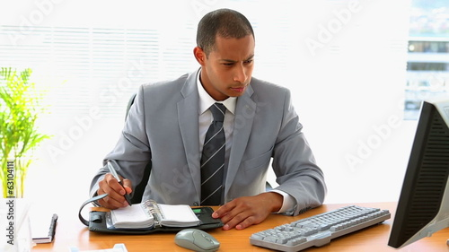 Businessman working at his desk and writing in diary