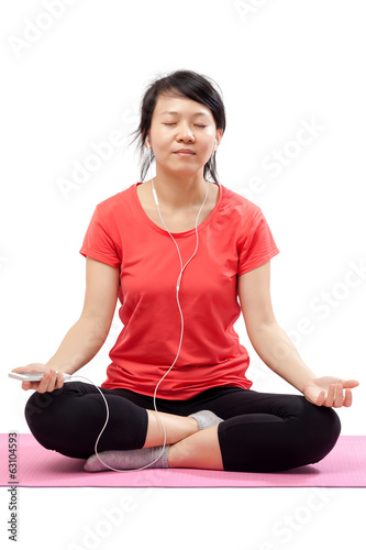 Peaceful woman listening music