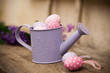 Easter eggs in watering can