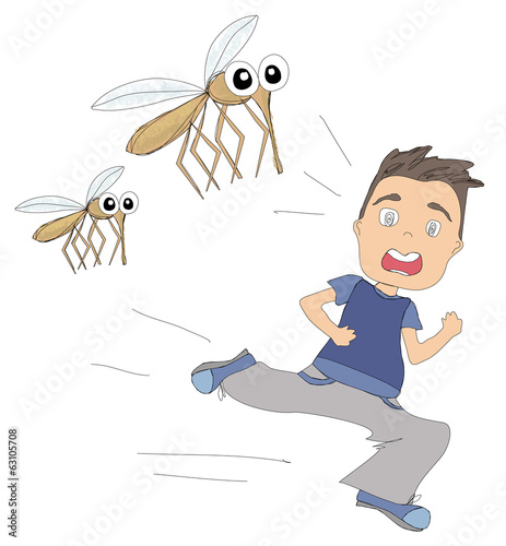 boy runs away from mosquitoes