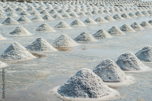 Pile of sea salt in farm.