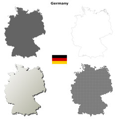 Blank detailed contour maps of Germany