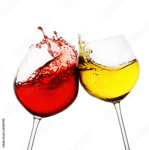 Red and white wine splash on white background