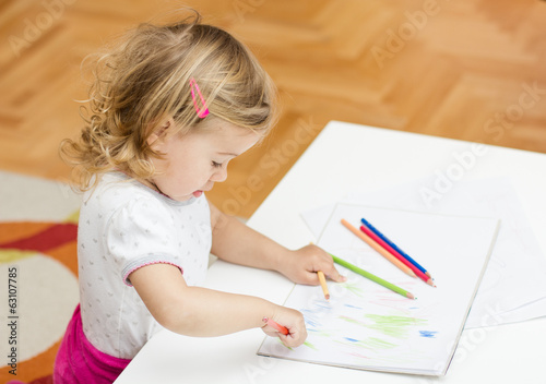 girl drawing with colored pencils