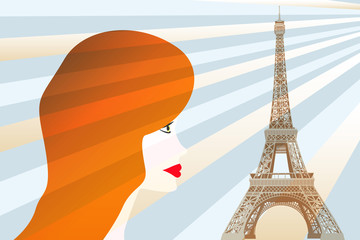 Girl and Eiffel tower - Stock Illustration