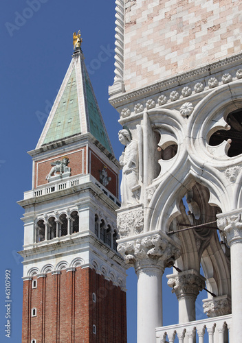 San Marco bell tower (Tower of the Moors). Ducal Palace. Venice