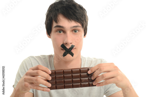 Upset man forbidden from eating a yummy chocolate