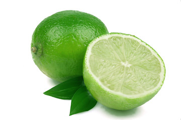 Ripe lime on white