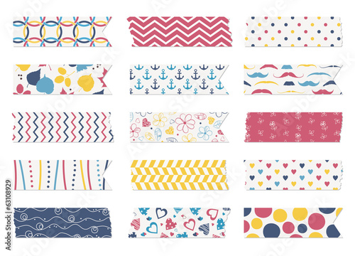 Washi tape strips, scrapbook elements