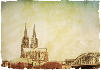 Vintage view of Gothic Cathedral in Cologne,