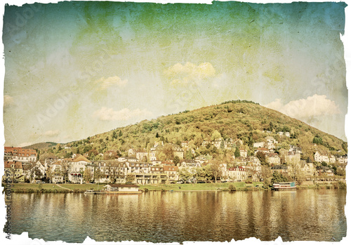 Vintage view to old town of Heidelberg