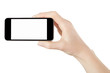 Smartphone in female hand on white, clipping path - 63109790
