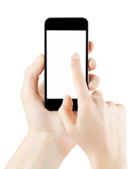 Woman hands hold and touch smartphone isolated, clipping path
