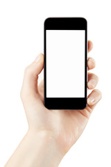 Woman hand holding smartphone isolated with clipping path