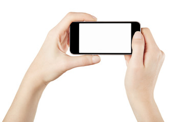 Female hands and smartphone on white, clipping path