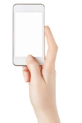 Smartphone in female hand isolated on white, clipping path