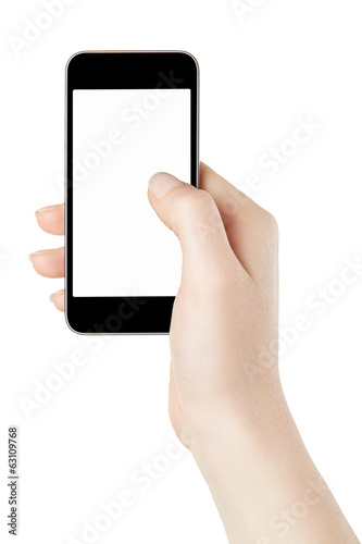 Smartphone in woman hand on white, clipping path