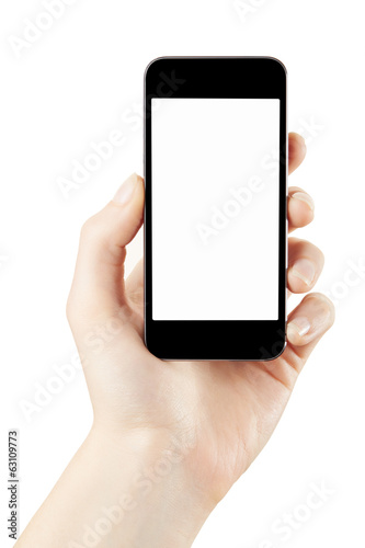 Woman hand holding smartphone isolated with clipping path - 63109773