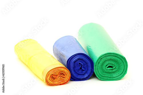 Garbage bags rolls on a white background