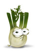 Sad fennel, disappointed vegetable cartoon character