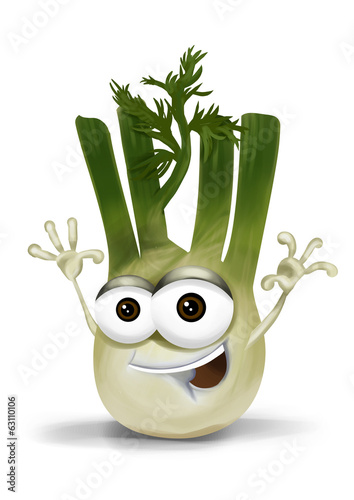 Happy fennel cartoon character, smiling and waving hands.