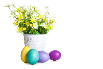 Easter eggs and basket isolated