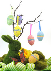 Happy Easter tree with hanging glitter eggs