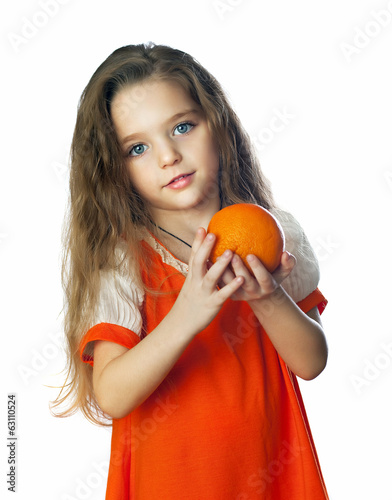 girl with orange in the orange dress
