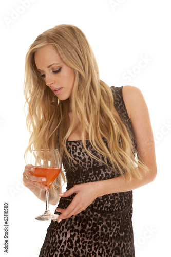 woman cheetah print dress glass look down