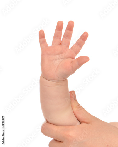 Little child baby kid hand with five fingers
