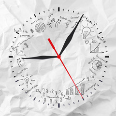Clock with business sketches
