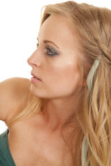 Woman head close look side serious eyes open