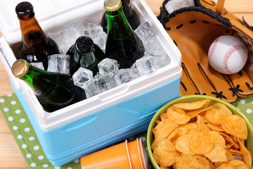 Ice chest full of drinks in bottles