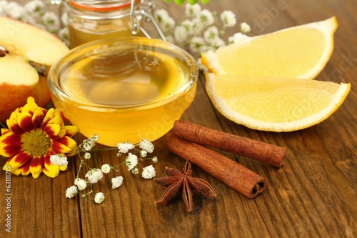 Sweet honey on wooden table