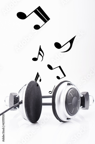 Kopfhörer mit Musiknoten Poster