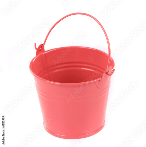 Close up of red metal bucket.
