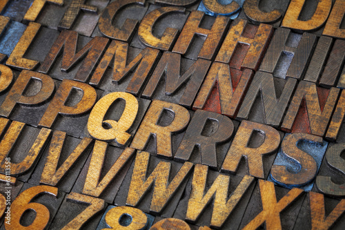letterpress alphabet abstract